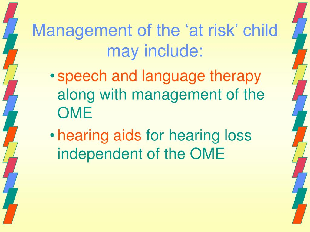 Management of the 'at risk' child may include:
