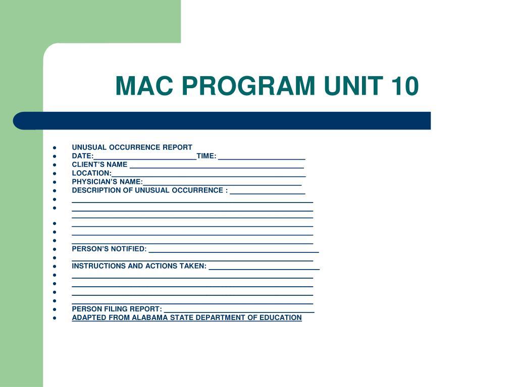 MAC PROGRAM UNIT 10