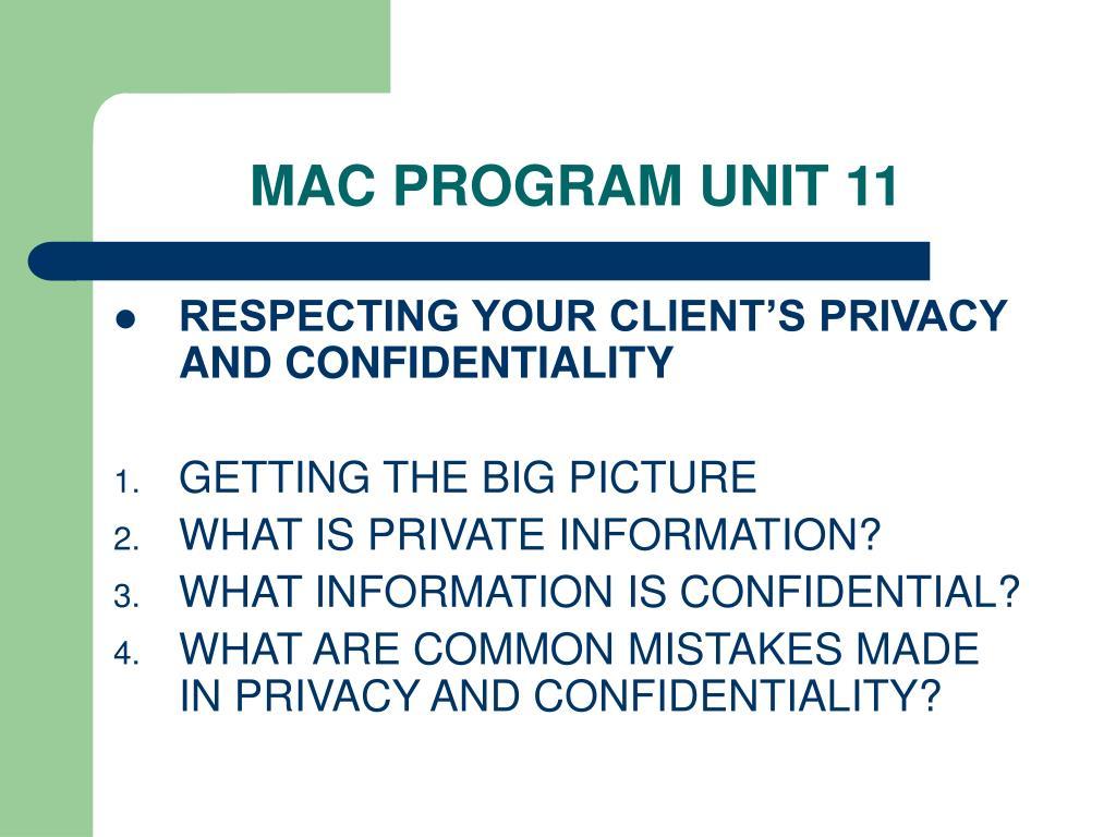MAC PROGRAM UNIT 11