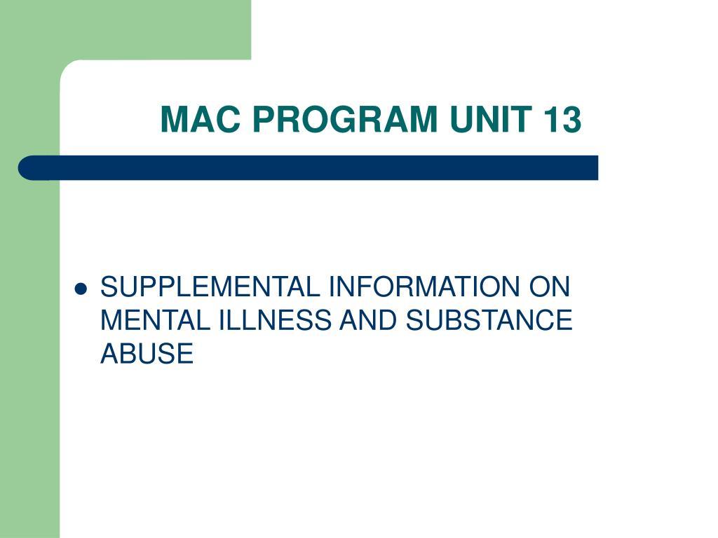 MAC PROGRAM UNIT 13