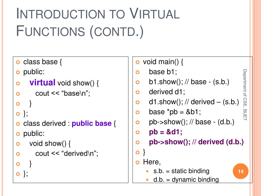 Introduction to Virtual Functions (contd.)