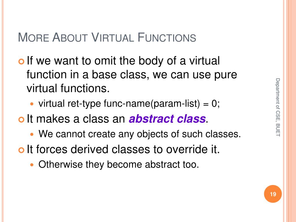 More About Virtual Functions