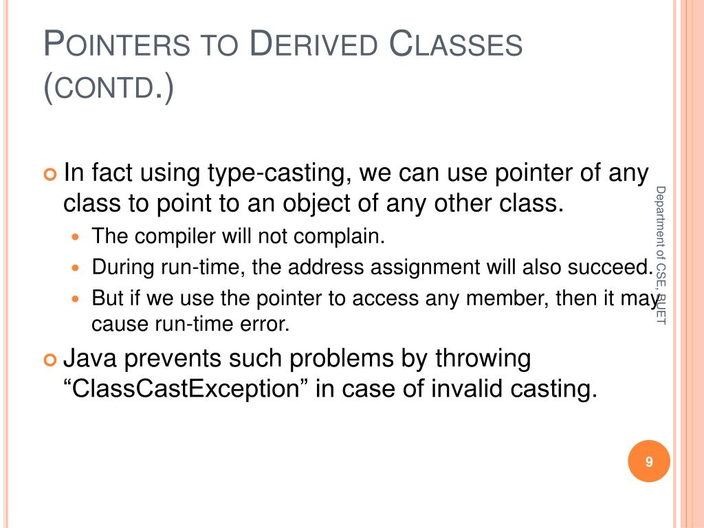 Pointers to Derived Classes (contd.)