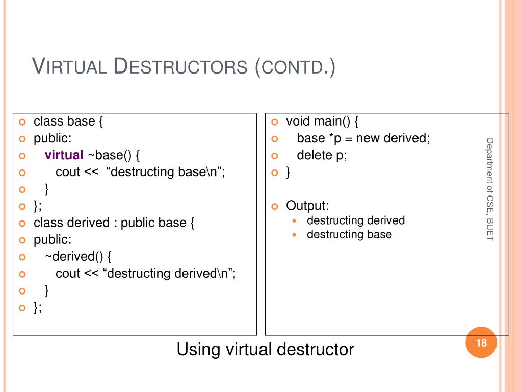 Virtual Destructors (contd.)