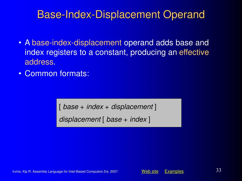 Base-Index-Displacement Operand