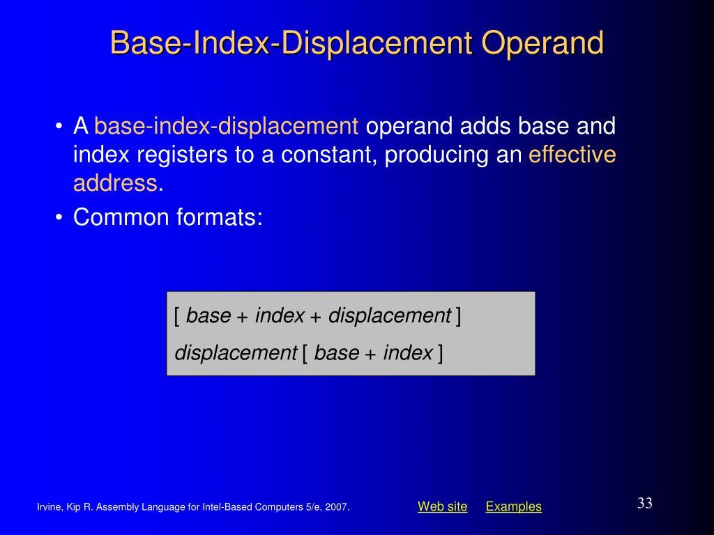 Base-Index-Displacement Operand
