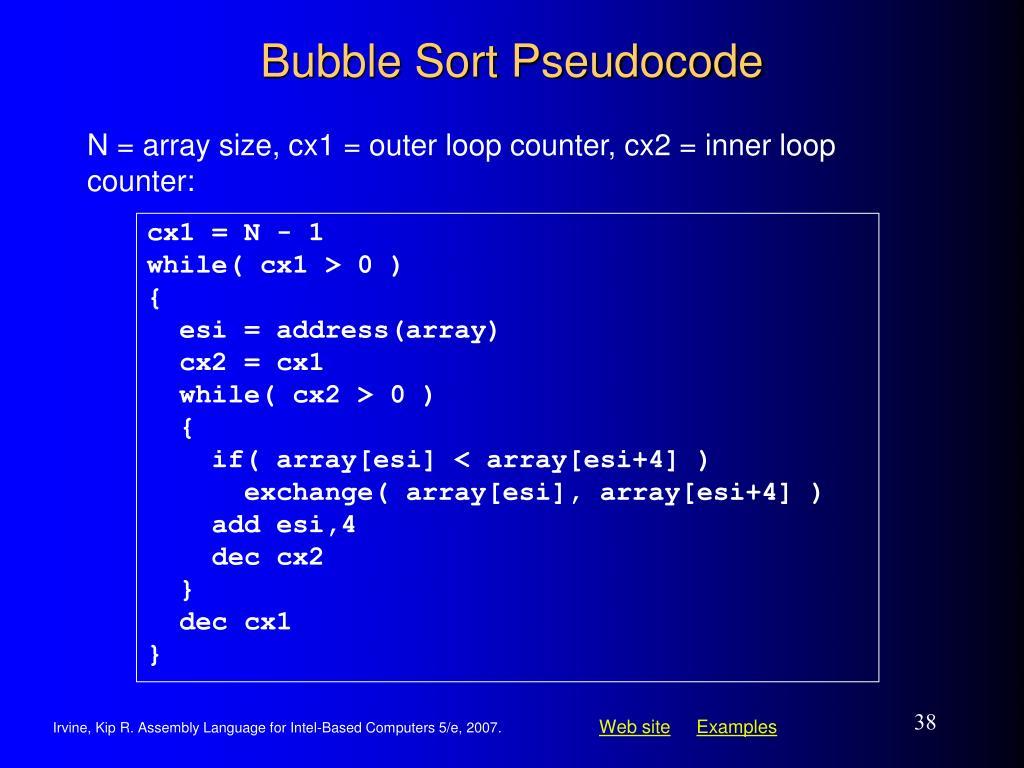 Bubble Sort Pseudocode