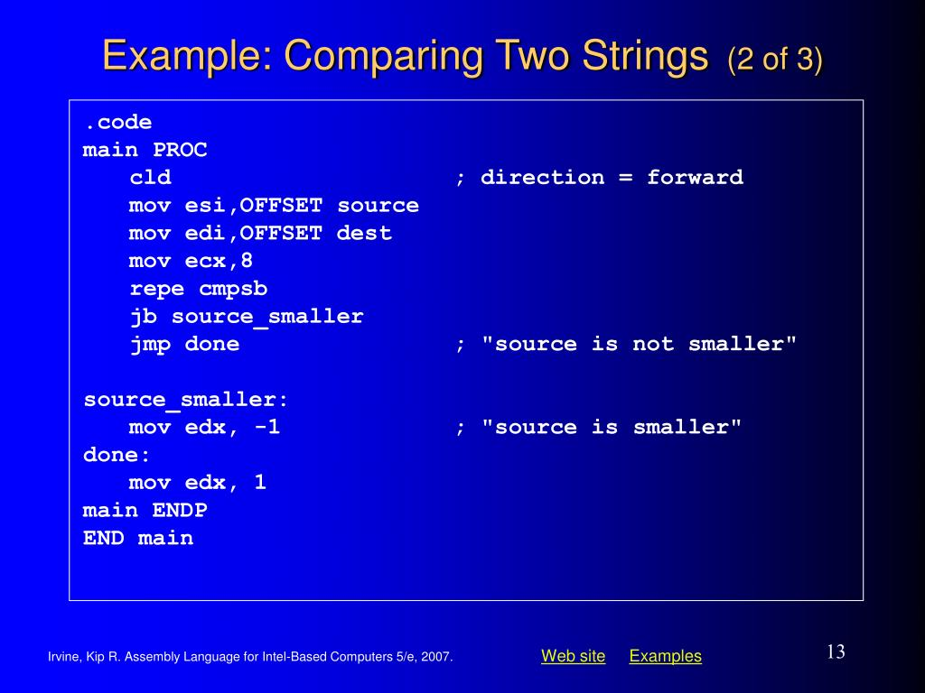 Example: Comparing Two Strings