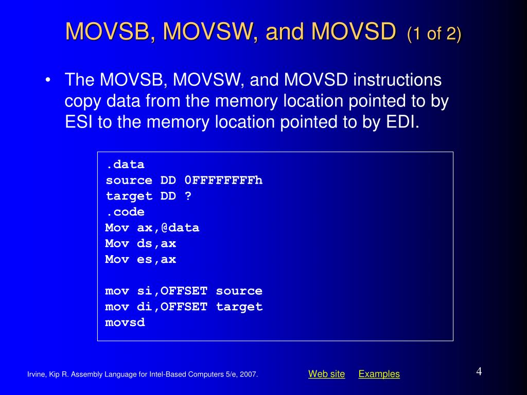 MOVSB, MOVSW, and MOVSD