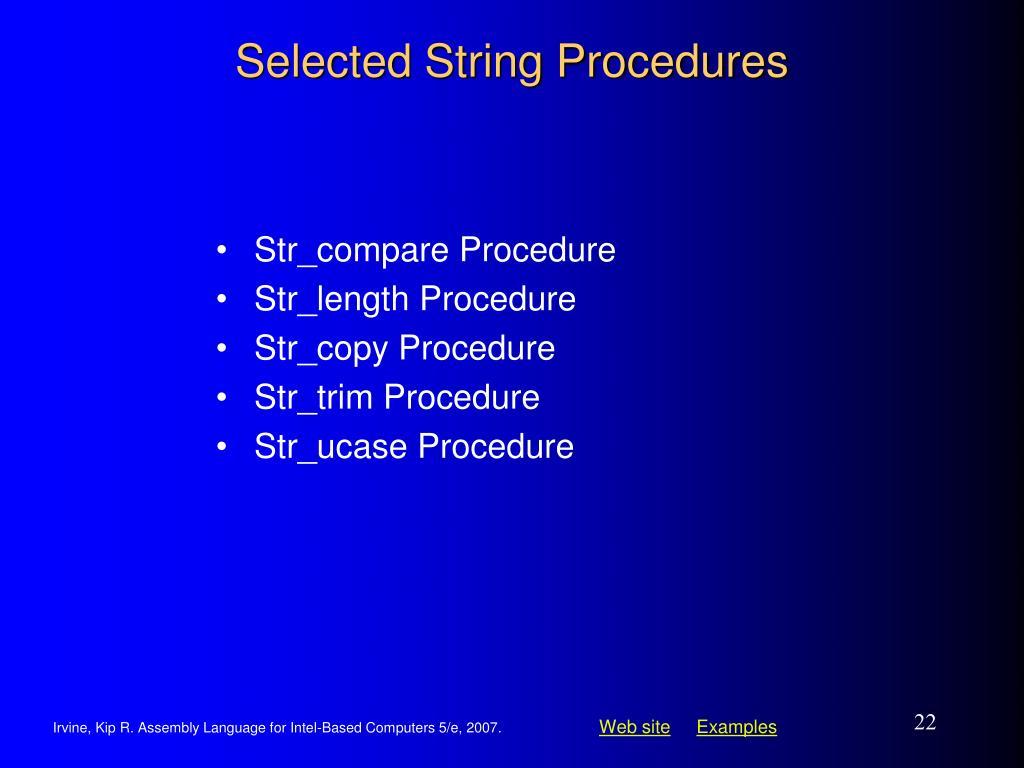 Selected String Procedures