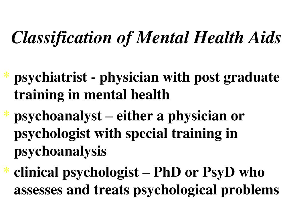 Classification of Mental Health Aids