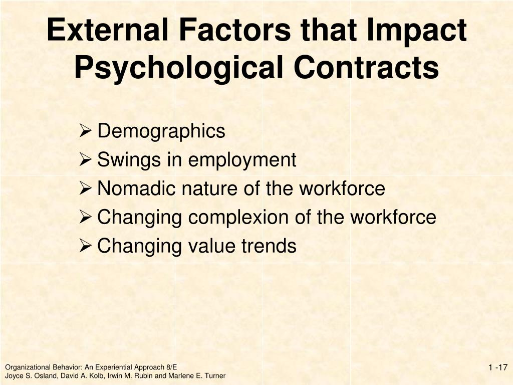 External Factors that Impact Psychological Contracts