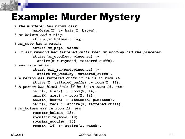 Example: Murder Mystery
