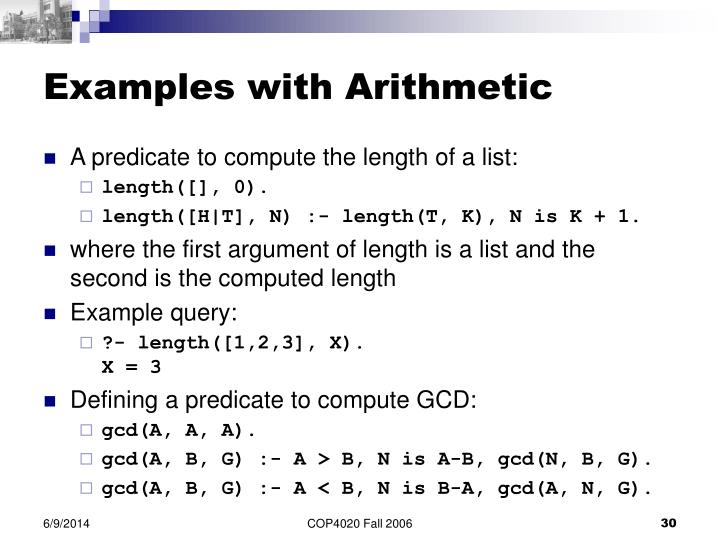 Examples with Arithmetic