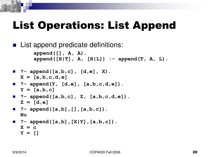 List Operations: List Append