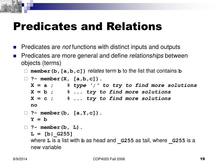 Predicates and Relations