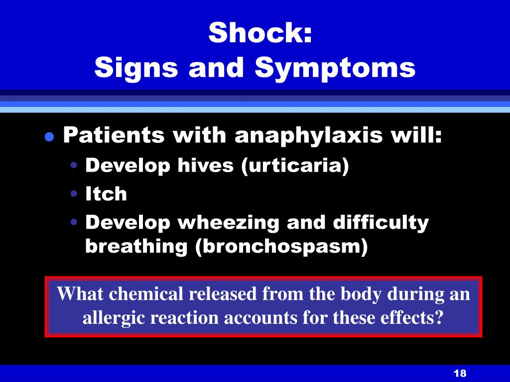 Shock:                        Signs and Symptoms