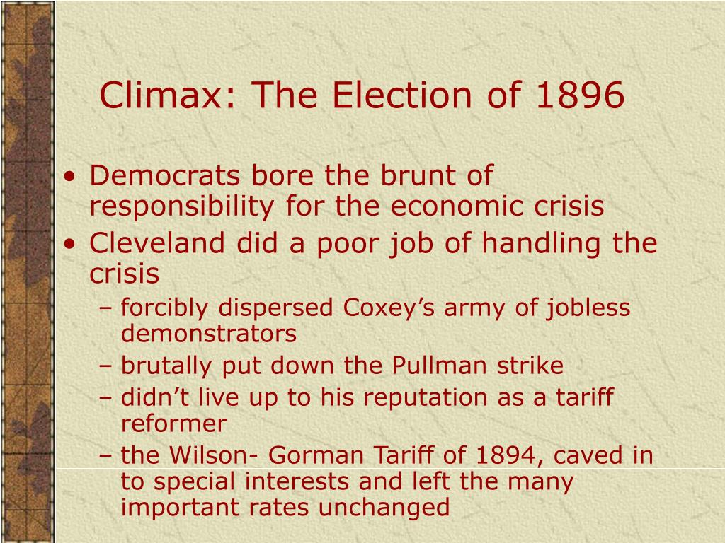 Climax: The Election of 1896