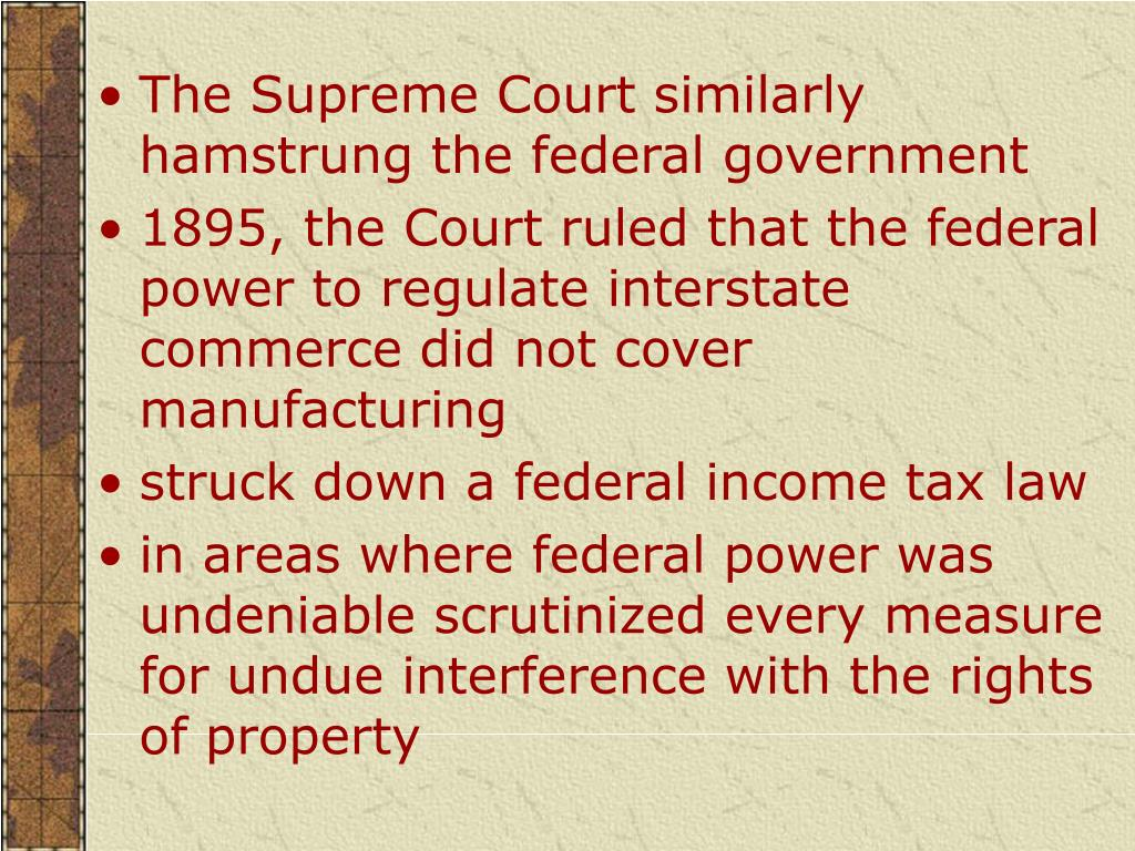 The Supreme Court similarly hamstrung the federal government