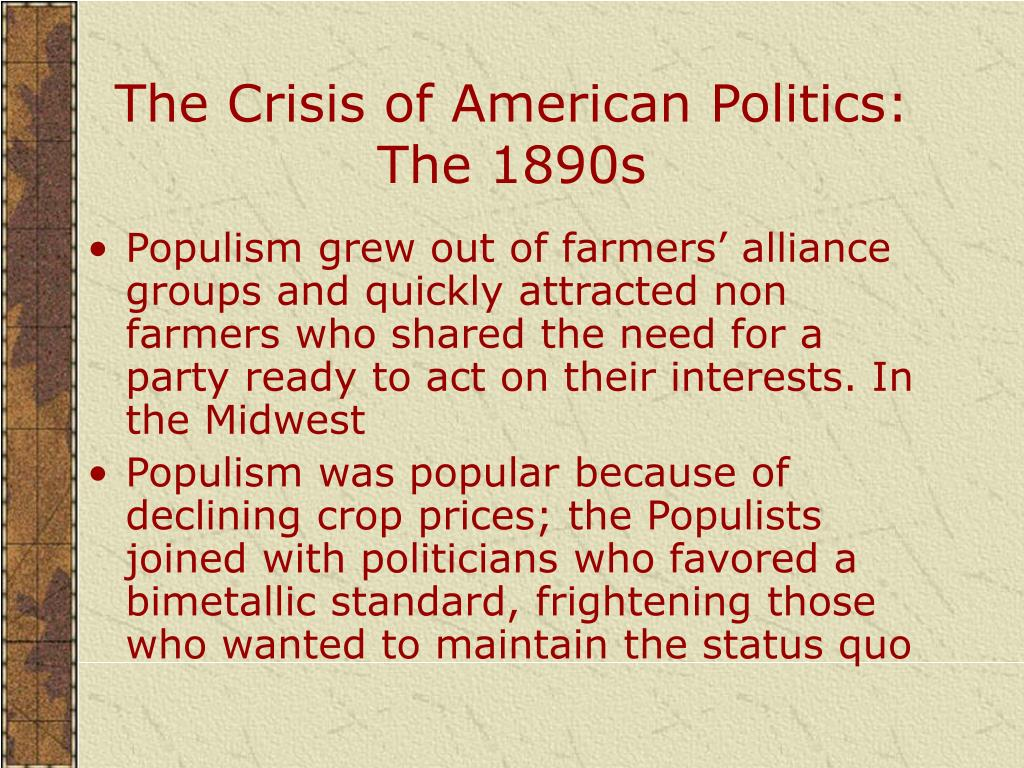 The Crisis of American Politics: