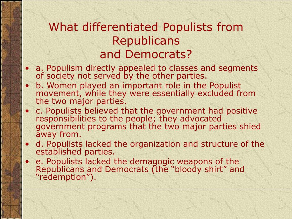 What differentiated Populists from Republicans