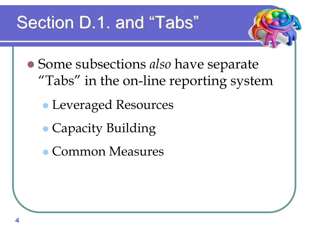 "Section D.1. and ""Tabs"""