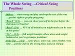 the whole swing critical swing positions