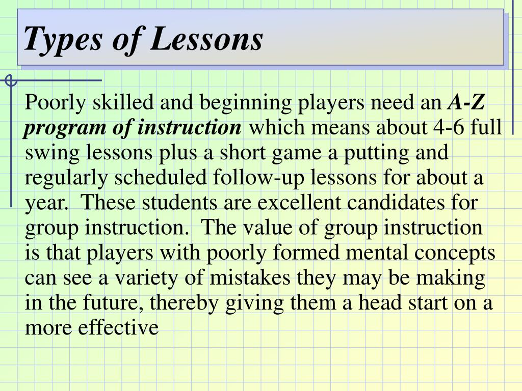 Types of Lessons