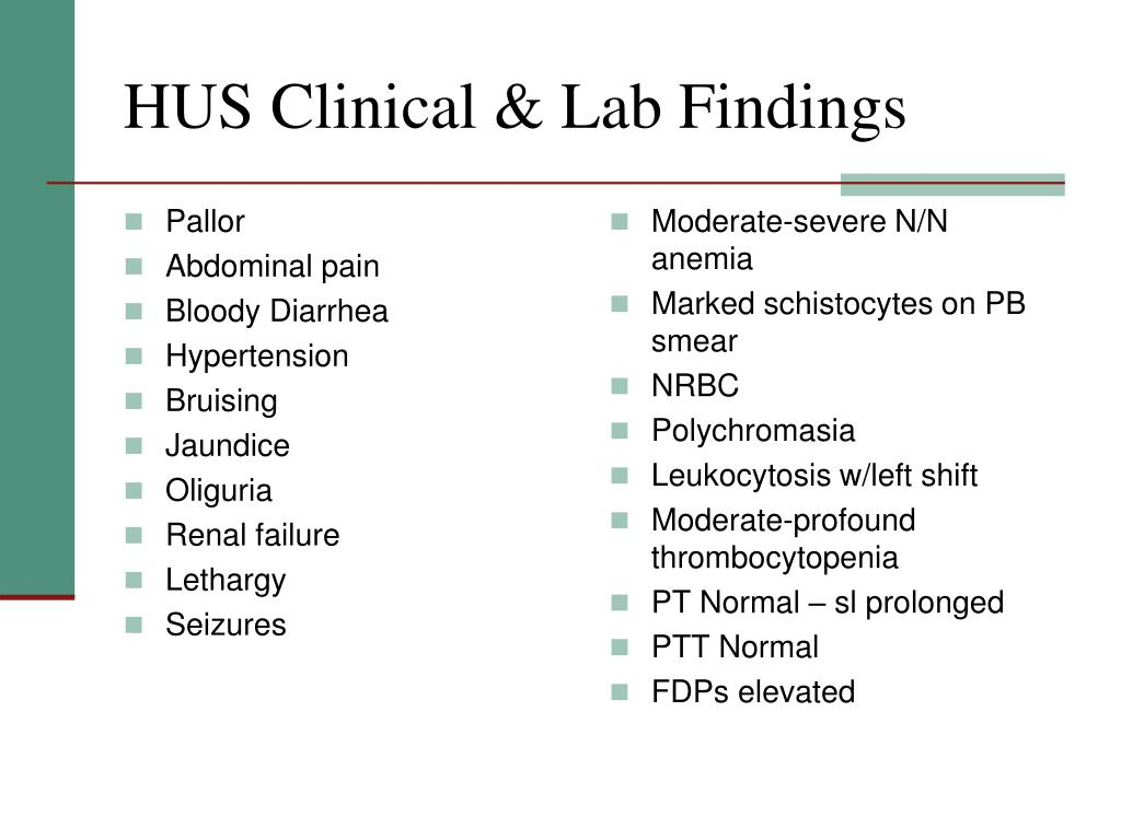 HUS Clinical & Lab Findings