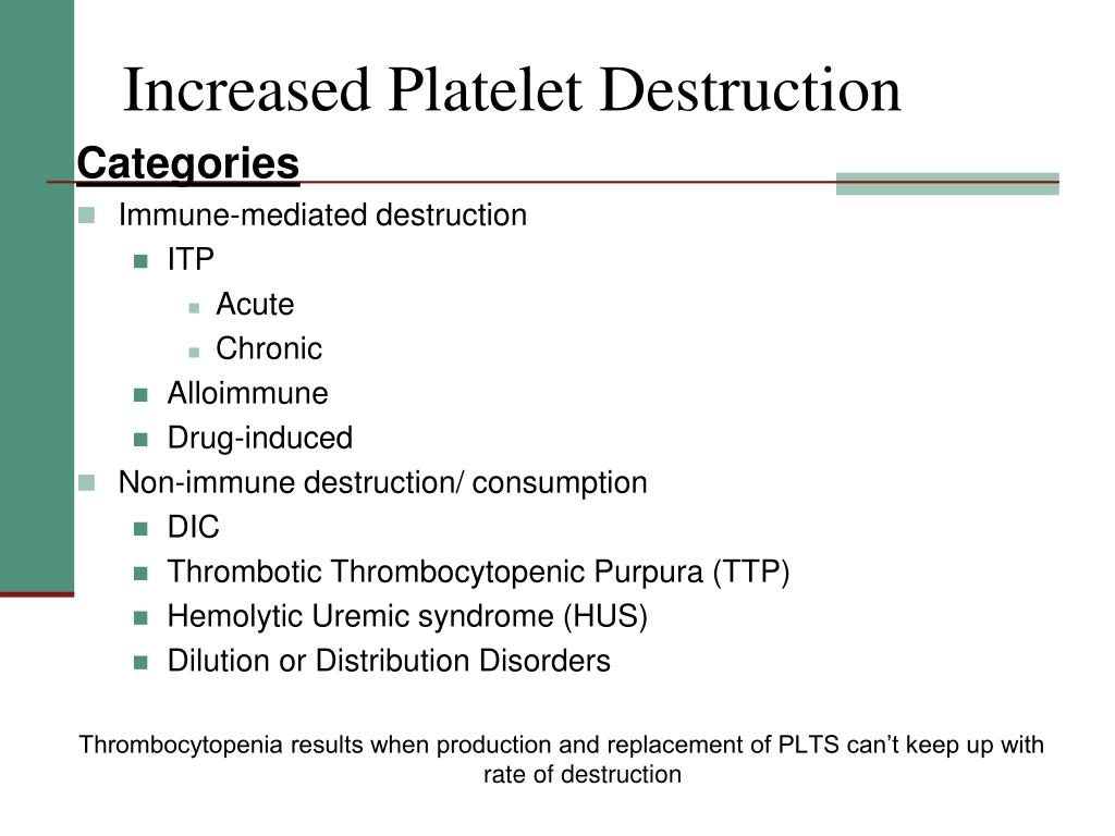 Increased Platelet Destruction