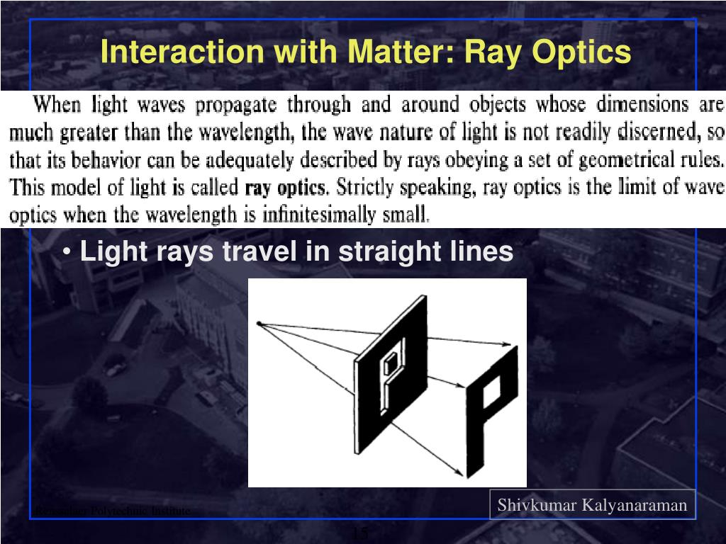 Interaction with Matter: Ray Optics