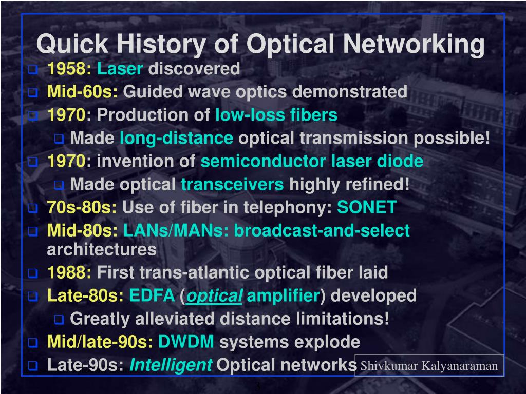 Quick History of Optical Networking
