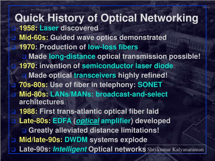 Quick history of optical networking l.jpg