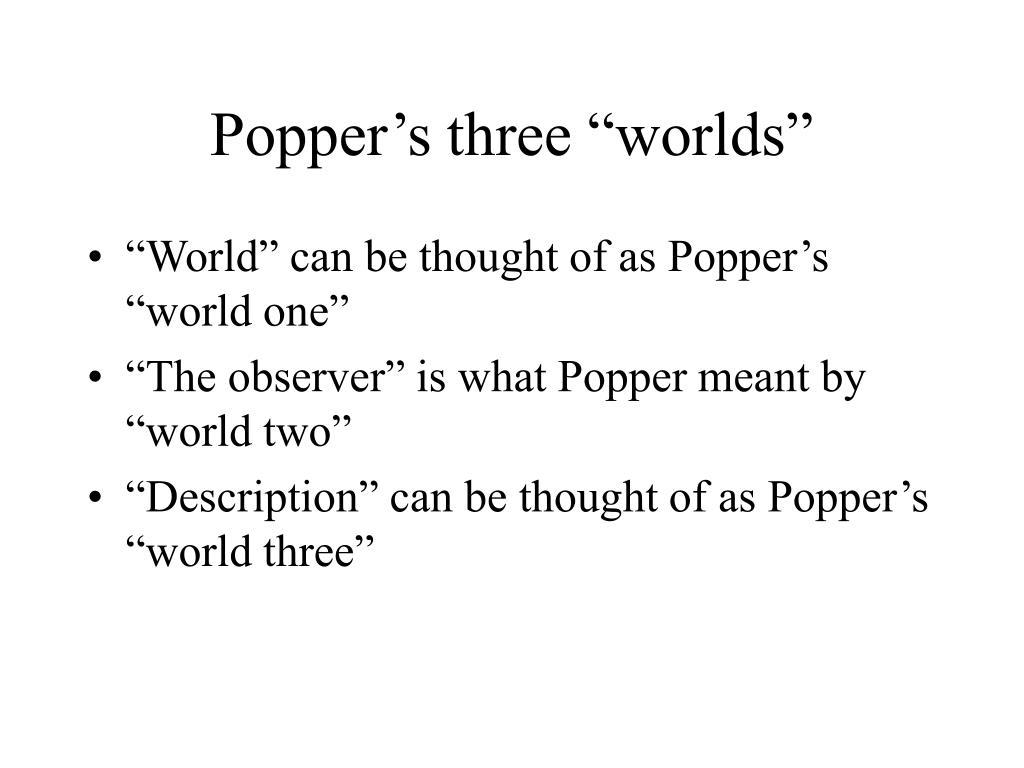 """Popper's three """"worlds"""""""