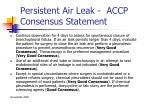 persistent air leak accp consensus statement