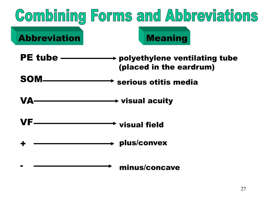 Combining Forms & Abbreviations (PE tube)