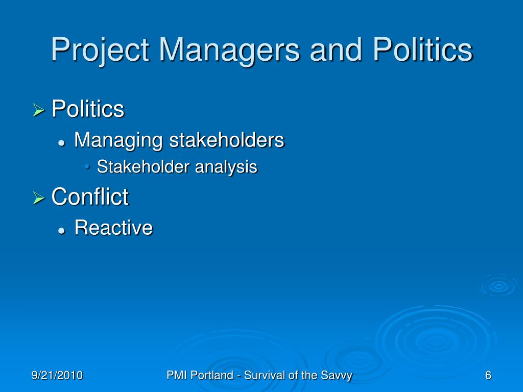 Project Managers and Politics