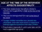 age at the time of the interview affects suggestibility
