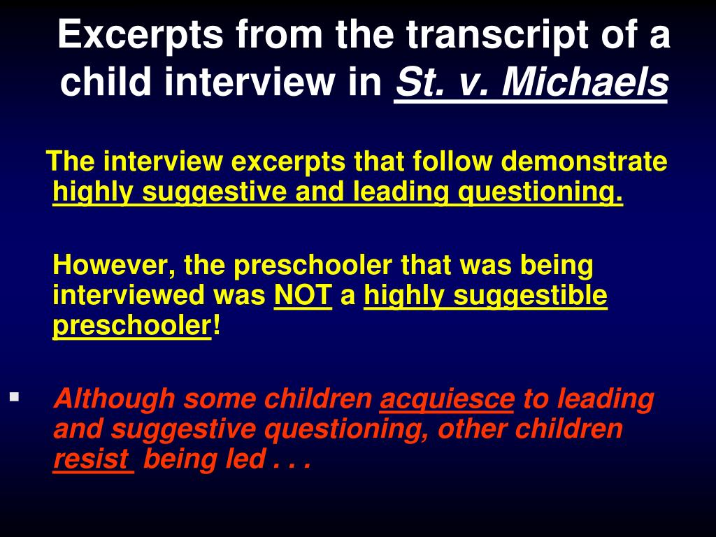 Excerpts from the transcript of a child interview in