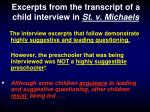 excerpts from the transcript of a child interview in st v michaels