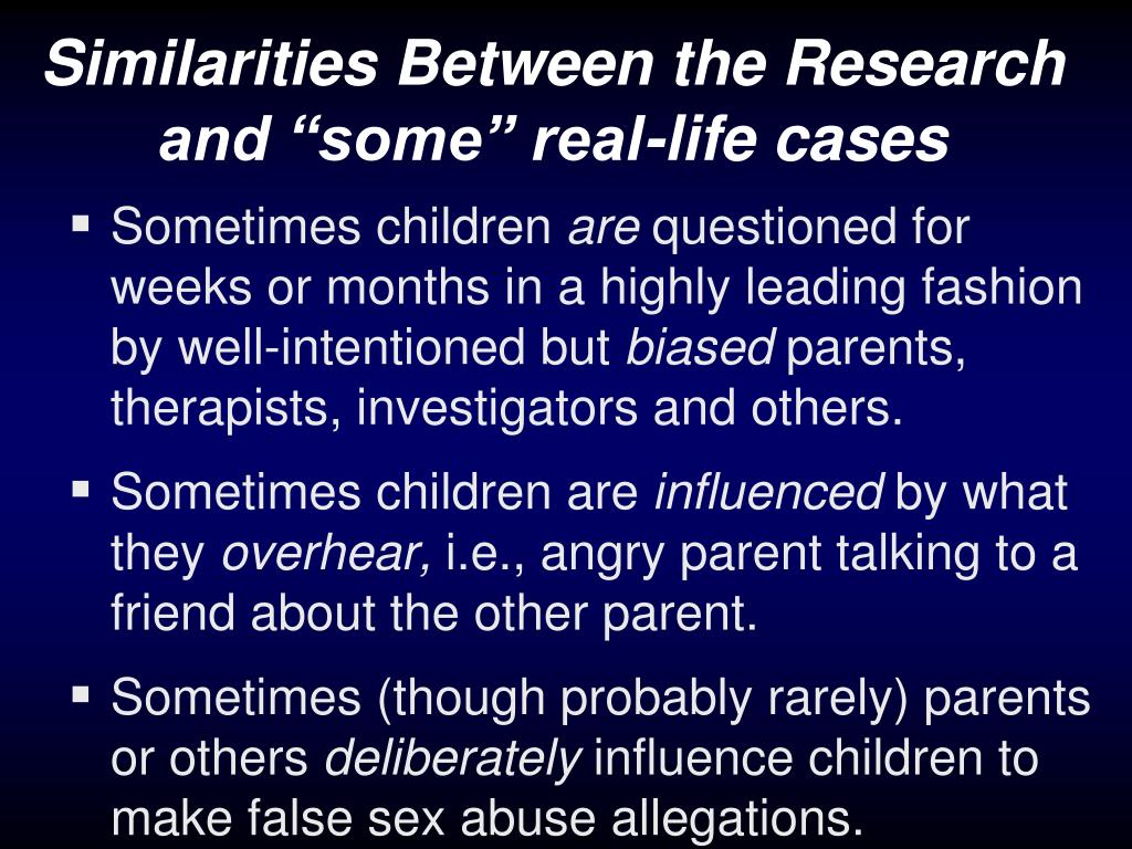 "Similarities Between the Research and ""some"" real-life cases"