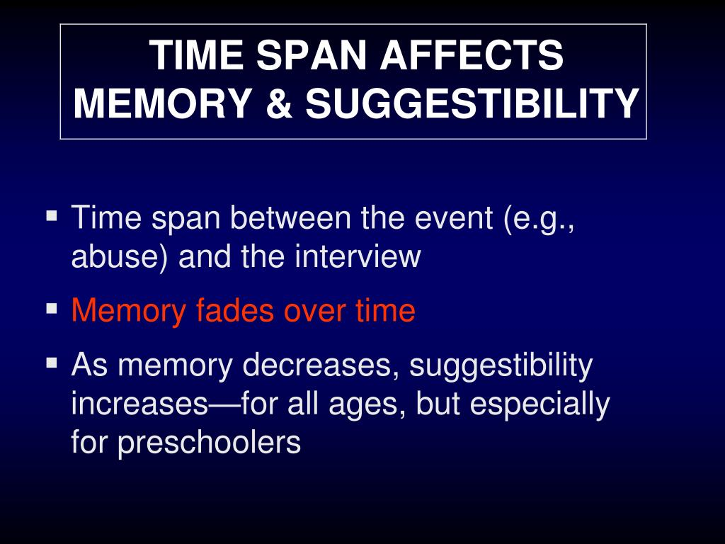 TIME SPAN AFFECTS MEMORY & SUGGESTIBILITY