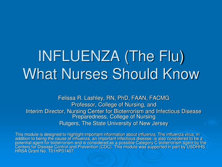 Influenza the flu what nurses should know
