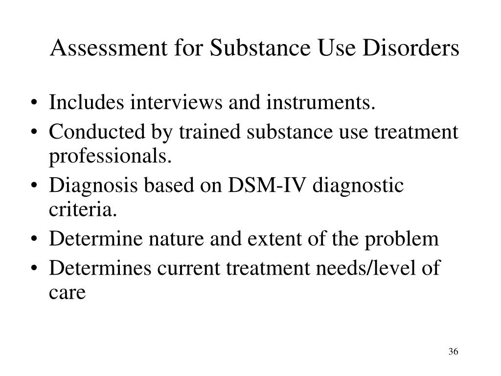 Assessment for Substance Use Disorders