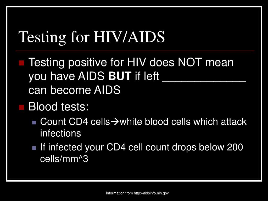 Testing for HIV/AIDS