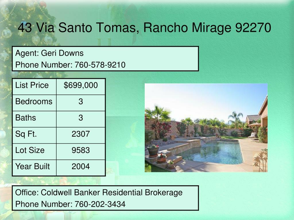 43 Via Santo Tomas, Rancho Mirage 92270