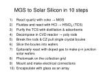 mgs to solar silicon in 10 steps