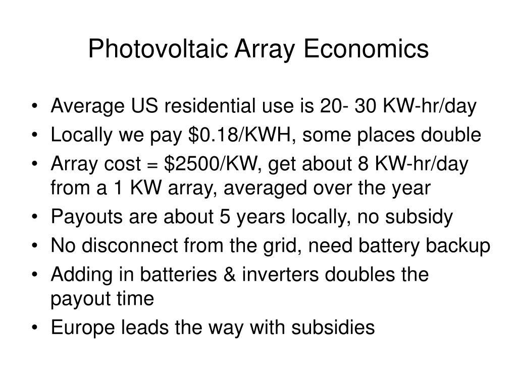Photovoltaic Array Economics