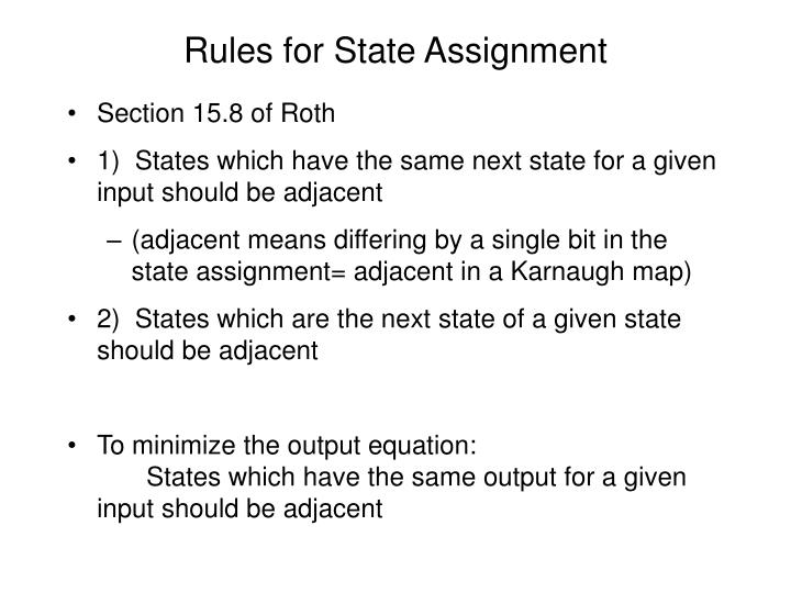 Rules for State Assignment