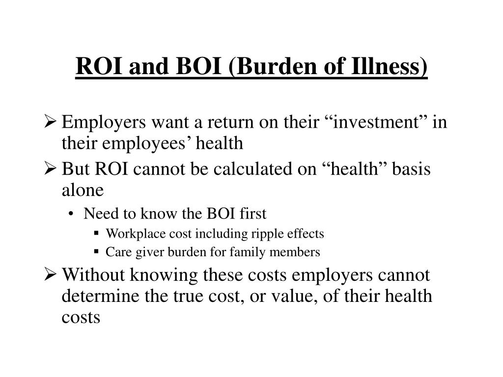 ROI and BOI (Burden of Illness)